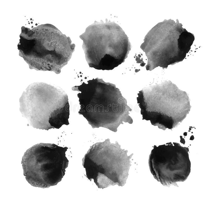Комплект черного пятна акварели вектора стоковая фотография