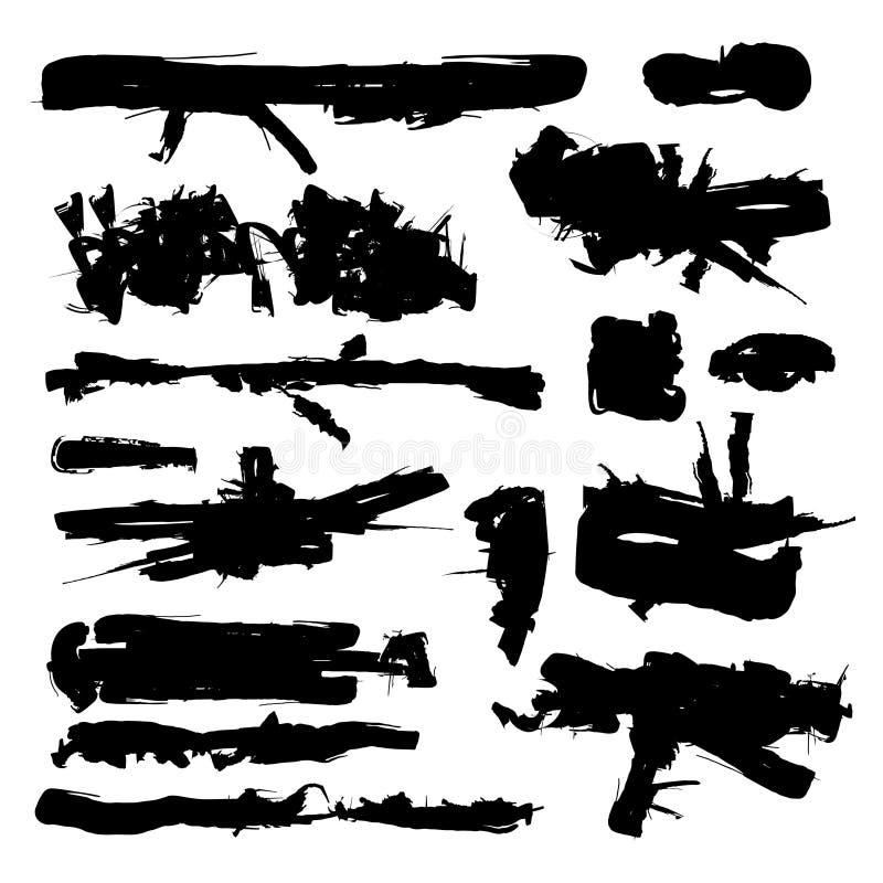 Комплект черного хода чернил щетки Grunge иллюстрация вектора