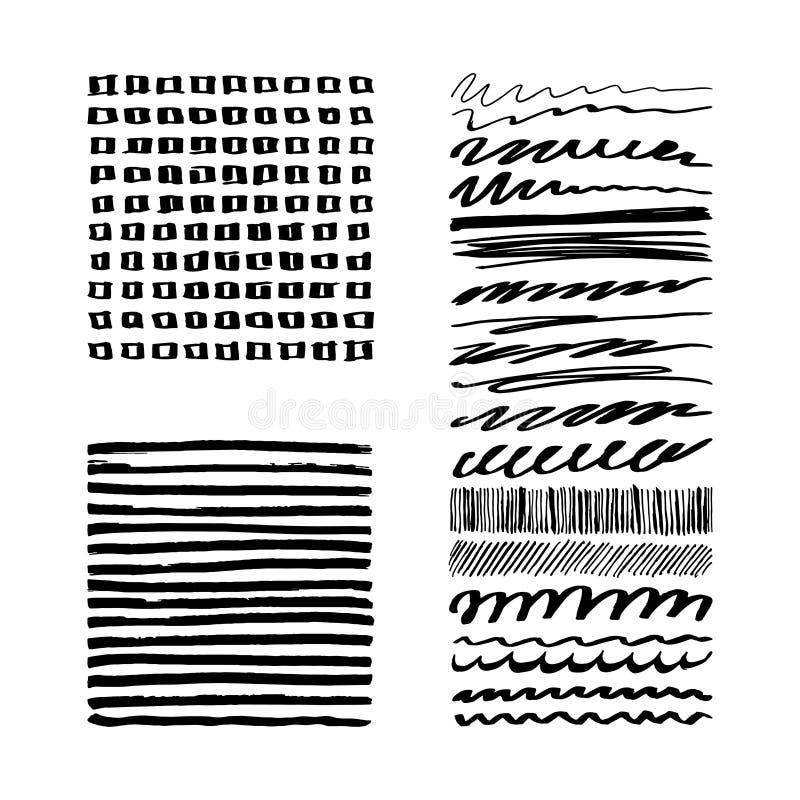 Комплект черного хода чернил щетки Grunge иллюстрация штока