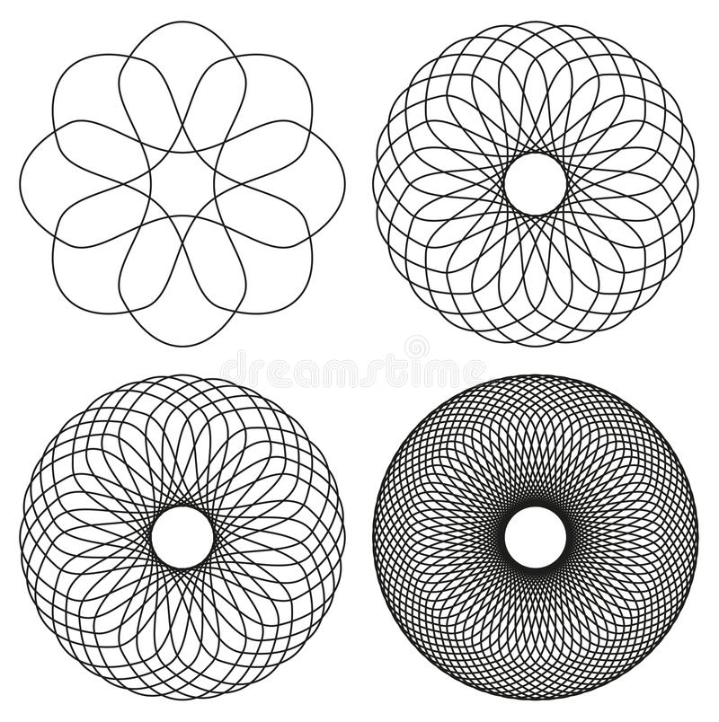 Комплект 4 черной линии элементы конспекта спирографа иллюстрация штока