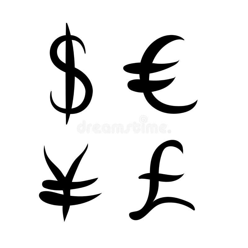 Комплект черноты главным образом знаков валюты Знаки доллара и иен, евро и фунта на белой предпосылке также вектор иллюстрации пр бесплатная иллюстрация