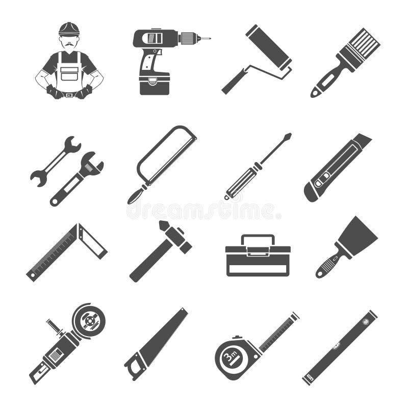 Комплект черноты значков инструментов иллюстрация штока