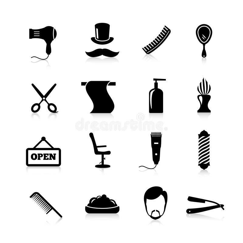 Комплект черноты значков парикмахера иллюстрация штока