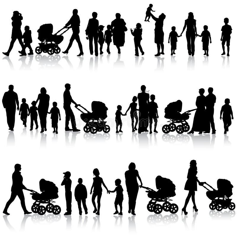 Комплект черноты силуэтов родителей и детей иллюстрация штока