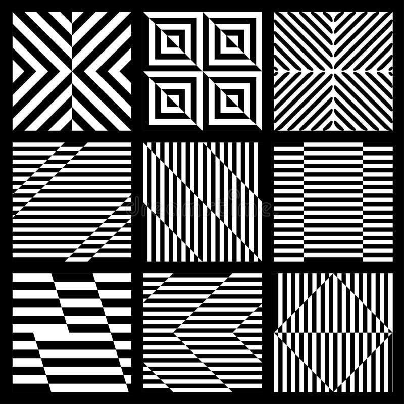Комплект черно-белой геометрической безшовной картины иллюстрация вектора