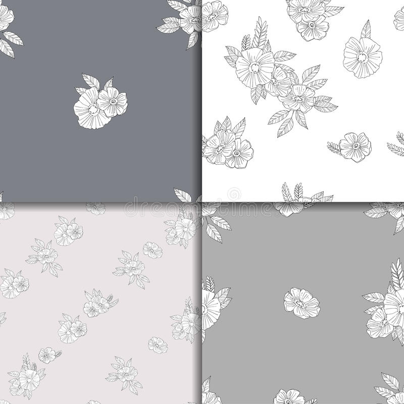 Комплект 4 черно-белых цветочных узоров иллюстрация штока