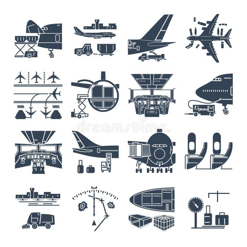 Комплект черных авиапорта значков и самолета, перевозки иллюстрация штока