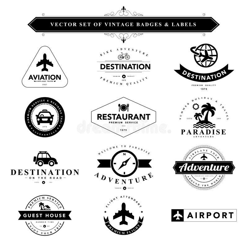 Комплект черных & белых винтажных значков и ярлыков иллюстрация штока