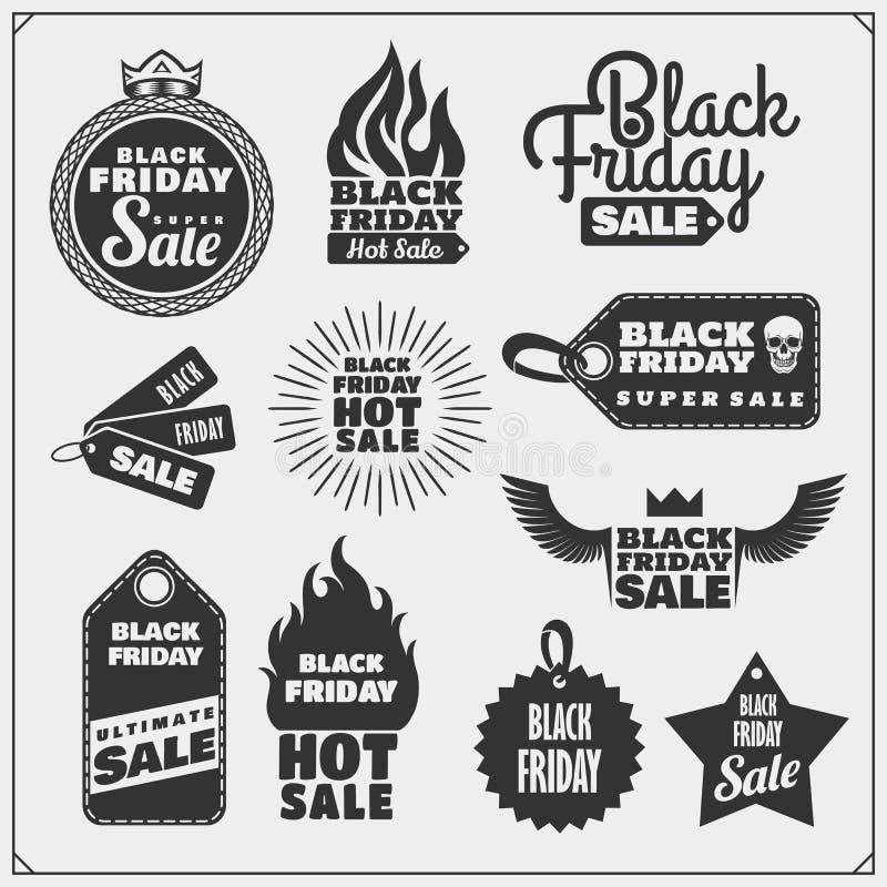 Комплект черных бирок продажи пятницы, знамен, значков, ярлыков и элементов дизайна бесплатная иллюстрация