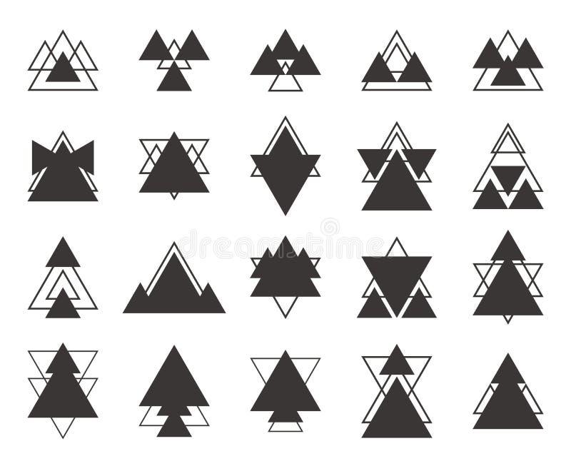 Комплект черных геометрических треугольников форм, линий для вашего дизайна иллюстрация вектора