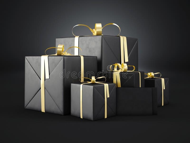 Комплект черных подарочных коробок различных размеров с золотым смычком ленты и пустым конвертом на темной предпосылке 3d предста бесплатная иллюстрация