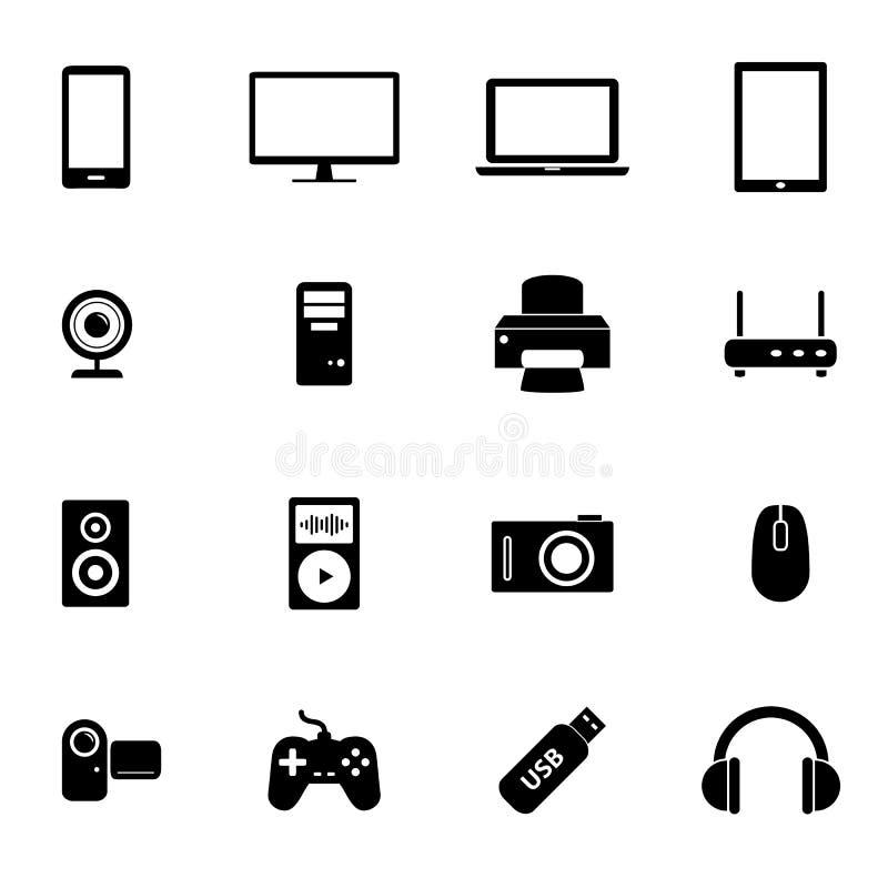 Комплект черных плоских значков - компьютерной аппаратуры, частей компьютера и электронных устройств стоковые изображения