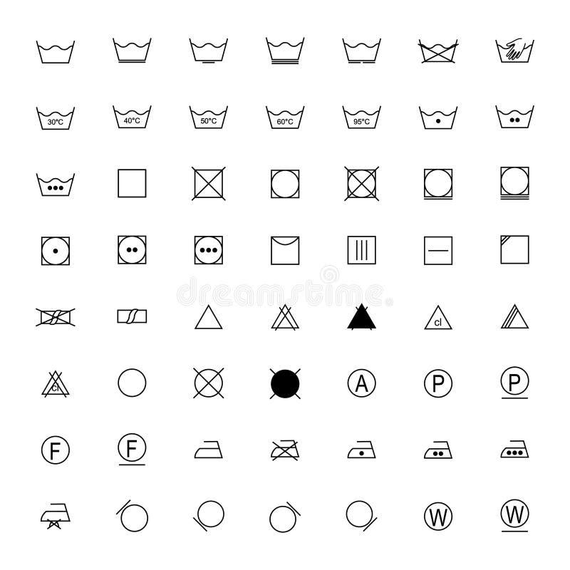 Комплект черных символов прачечной на белой предпосылке, иллюстрации иллюстрация штока