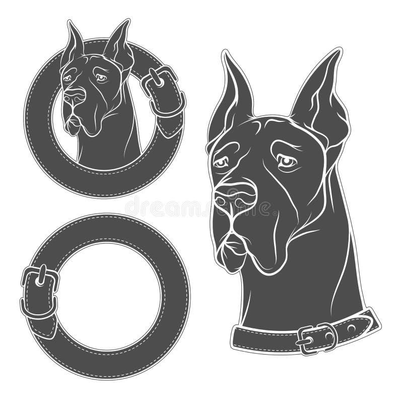 Комплект чертежа вектора собаки в воротнике иллюстрация вектора