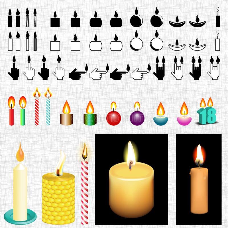 Комплект чертежа значка и вектора свечи стоковые изображения rf