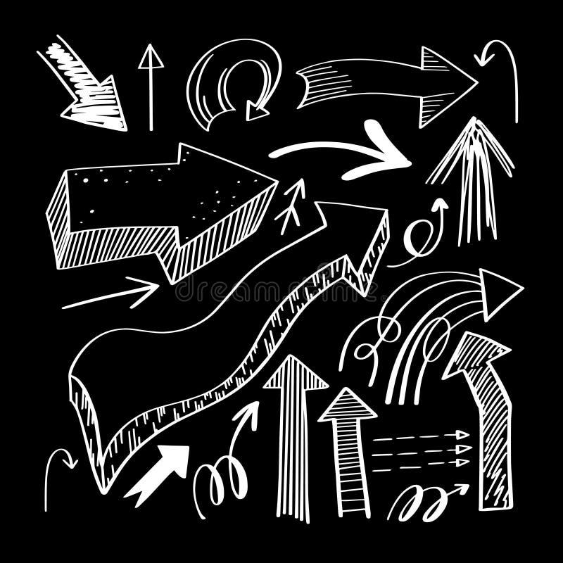 Комплект чертежа руки изолировал собрание стрелок на черном backgrou бесплатная иллюстрация