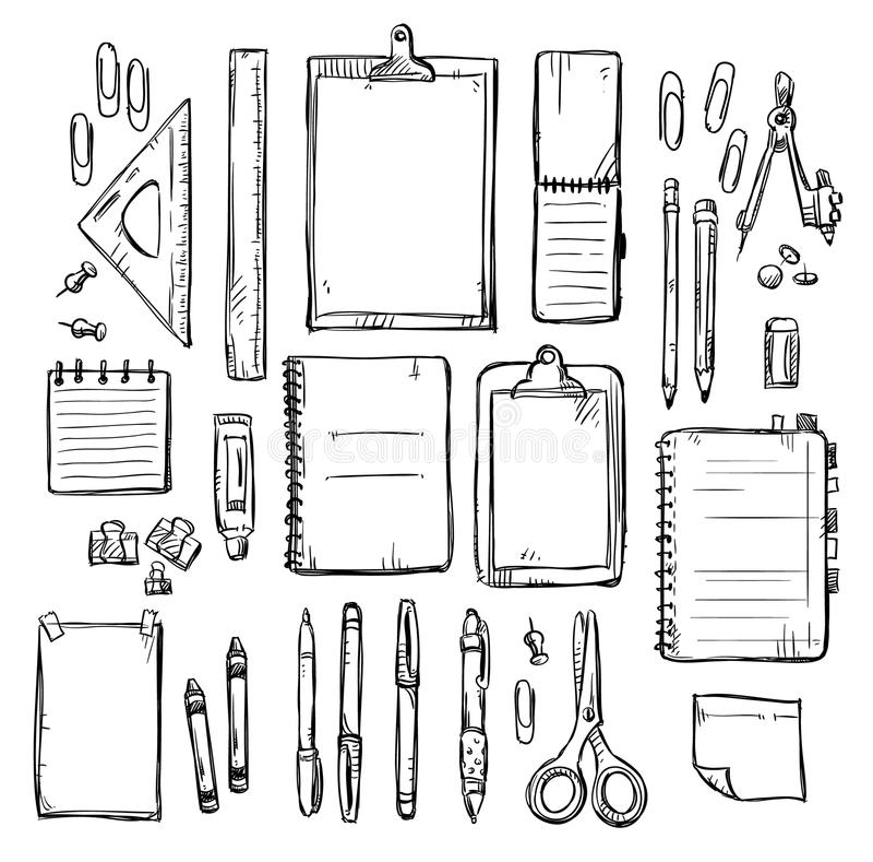 Комплект чертежей канцелярских принадлежностей иллюстрация штока
