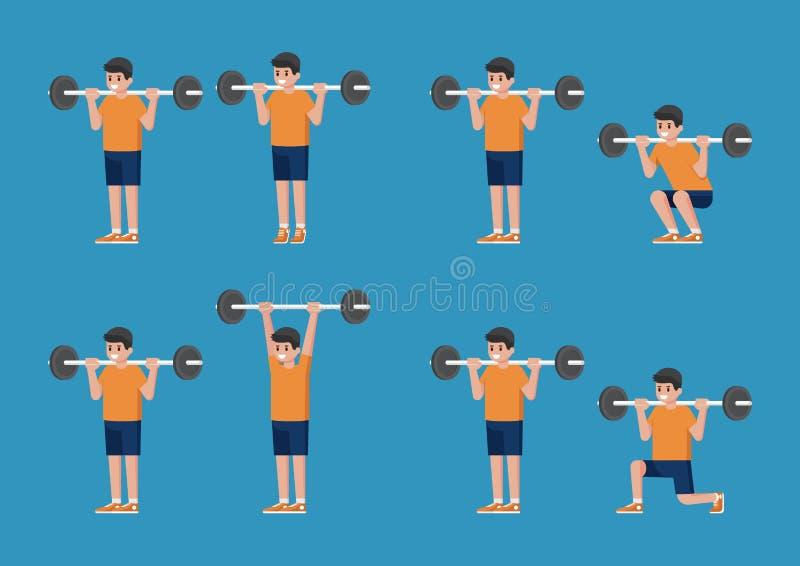 Комплект человека в тренировке культуризма и веса представляет иллюстрация вектора