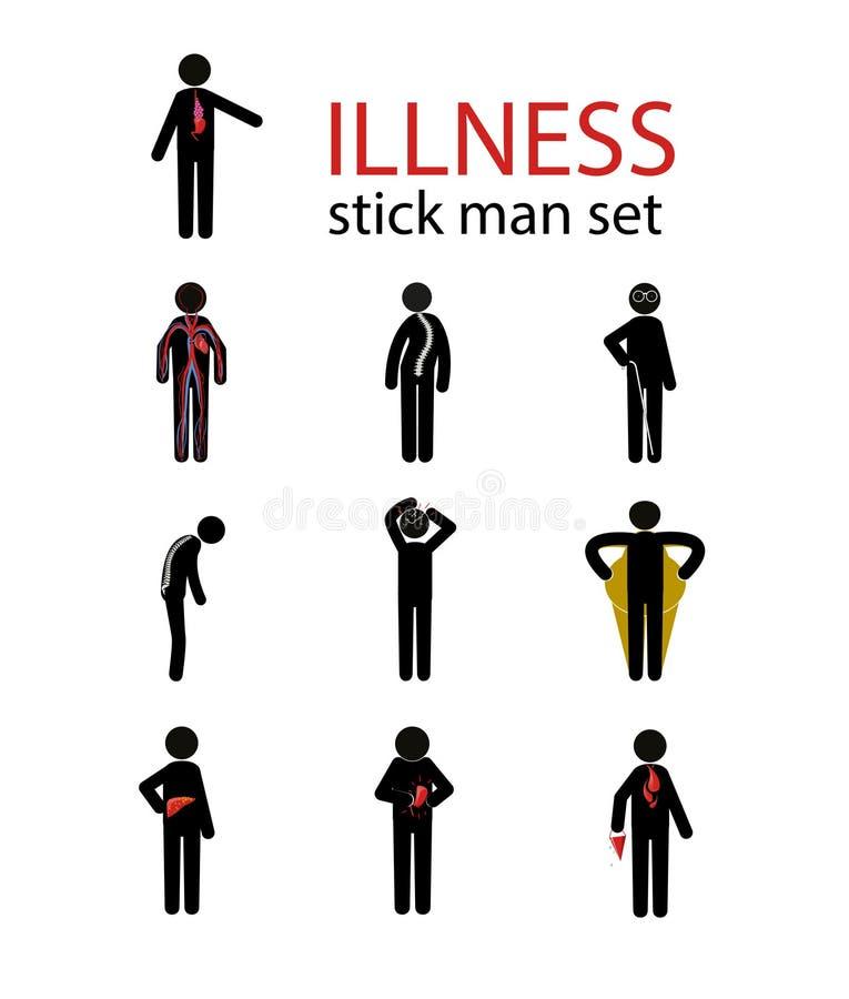 Комплект человека ручки болезни иллюстрация вектора