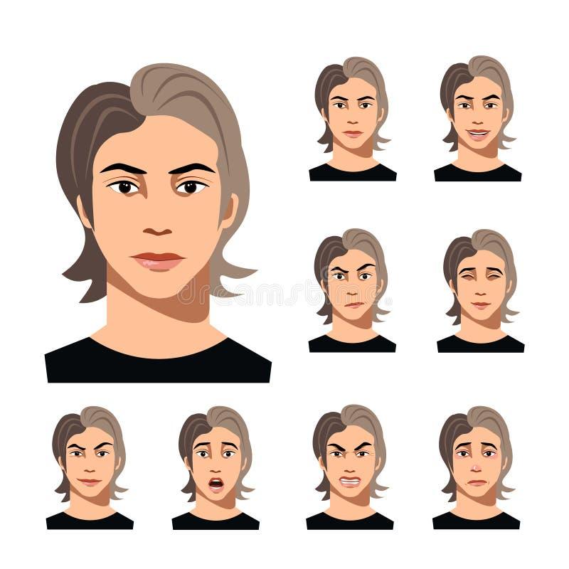 Комплект человека смотрит на различные эмоции иллюстрация вектора