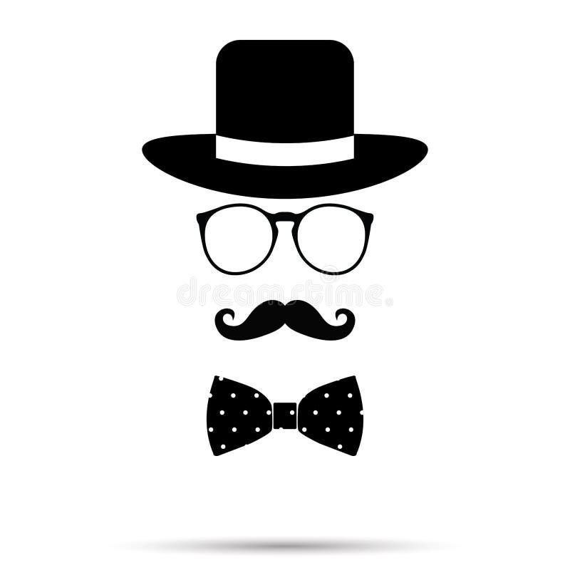 Комплект человека шляпы, стекел, Bowtie и усика также вектор иллюстрации притяжки corel бесплатная иллюстрация