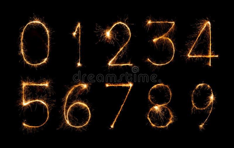 Комплект числа бенгальских огней фейерверка бесплатная иллюстрация