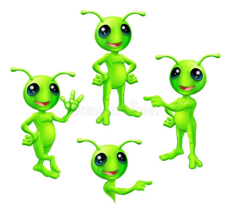 Комплект чужеземца шаржа зеленый иллюстрация вектора