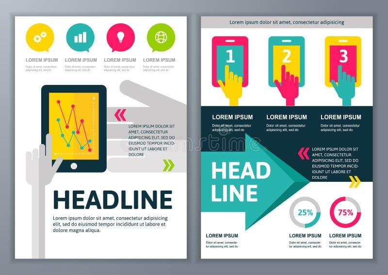 Комплект шаблона вектора для брошюры, рогульки, плаката, применения иллюстрация штока