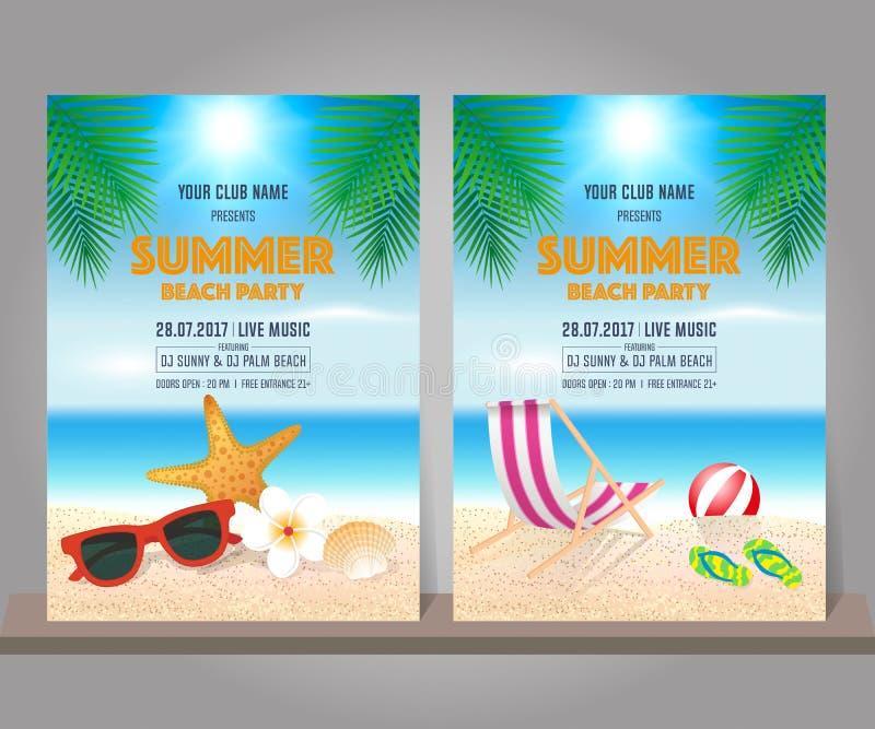 Комплект шаблона дизайна партии пляжа лета также вектор иллюстрации притяжки corel иллюстрация вектора