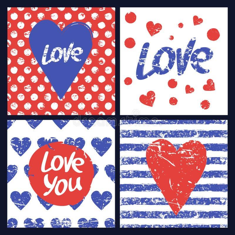 Комплект шаблона карточки вектора Сердце, рука нарисованная влюбленность слова, seamle иллюстрация вектора