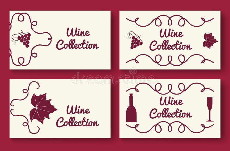 Комплект шаблона карточки собрания вина иллюстрация вектора