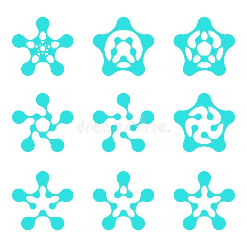 Шаблон логоса молекулы абстрактной воды pentagonal иллюстрация вектора