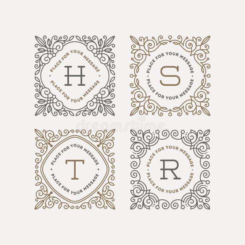 Комплект шаблона логотипа вензеля иллюстрация вектора