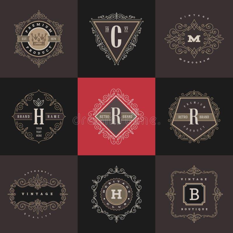 Комплект шаблона логотипа вензеля иллюстрация штока