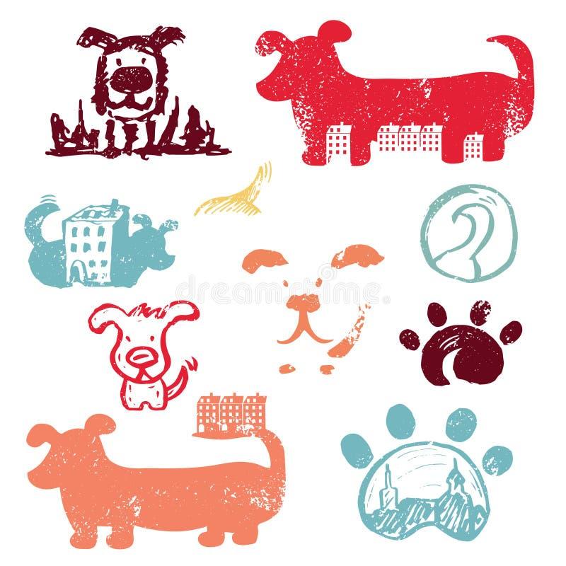 Комплект шаблона логотипа значков концепции нарисованного рукой с собаками иллюстрация вектора