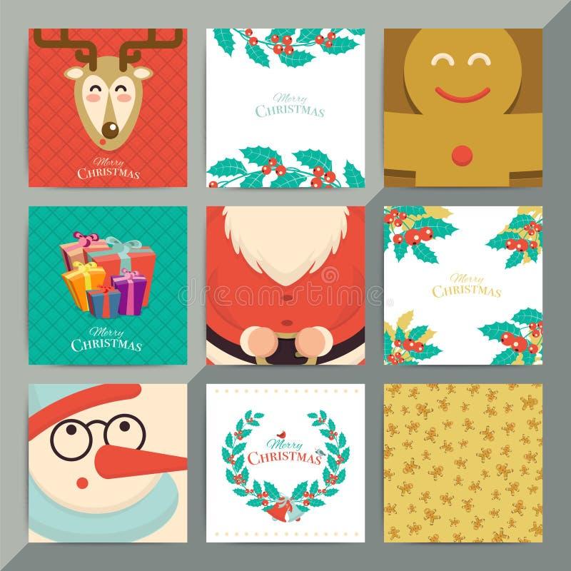 Комплект шаблона поздравительной открытки рождества Положение приглашения xmas вектора иллюстрация штока