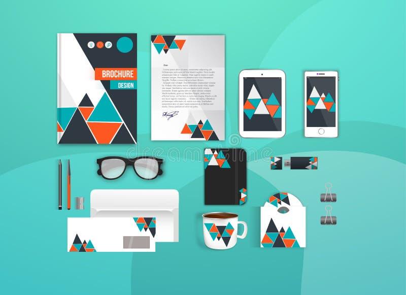 Комплект шаблона фирменного стиля Модель-макет канцелярских принадлежностей дела для клеймя дизайна Пометьте буквами конверт, кар иллюстрация штока