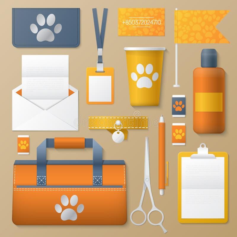 Комплект шаблона фирменного стиля Groomer любимчика Собаки фасонируют неподвижный модель-макет Личный затаврить бесплатная иллюстрация