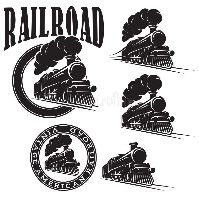 Комплект шаблонов вектора с локомотивом, винтажным поездом иллюстрация штока