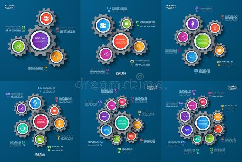 Комплект шаблонов вектора infographic с шестернями, cogwheels иллюстрация штока
