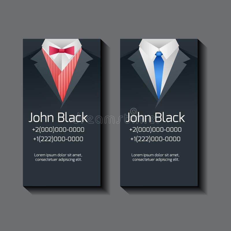 Комплект шаблонов визитной карточки вектора с костюмами людей иллюстрация вектора
