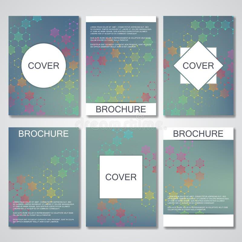 Комплект шаблонов дела для брошюры, рогульки, кассеты крышки в размере A4 Дна молекулы структуры и нейроны Геометрический конспек иллюстрация вектора