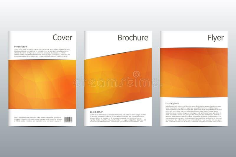 Комплект шаблонов дела для брошюры, рогульки, кассеты крышки в размере A4 Триангулярная форма абстрактная предпосылка геометричес иллюстрация вектора