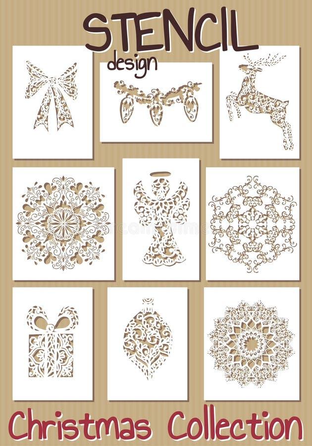 Комплект шаблонов дизайна восковки Рождество бесплатная иллюстрация