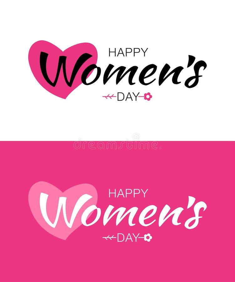 Комплект шаблонов литерности дня счастливых женщин типографских Vector иллюстрация карточки дня ` s женщин иллюстрация штока