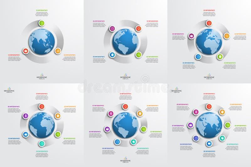 Комплект шаблонов круга infographic с глобусом владение домашнего ключа принципиальной схемы дела золотистое достигая небо к бесплатная иллюстрация