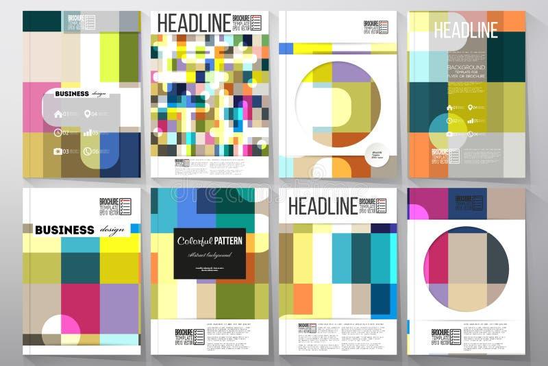 Комплект шаблонов для брошюры, рогульки или буклета Абстрактная красочная предпосылка дела, современная стильная текстура вектора иллюстрация вектора