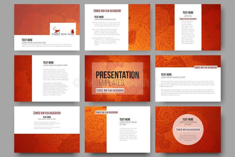 Комплект 9 шаблонов для скольжений представления Новый Год китайца предпосылки Флористический дизайн с красными обезьянами, векто иллюстрация вектора