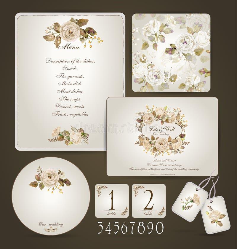 Комплект шаблонов для торжества, wedding бежевые розы иллюстрация вектора