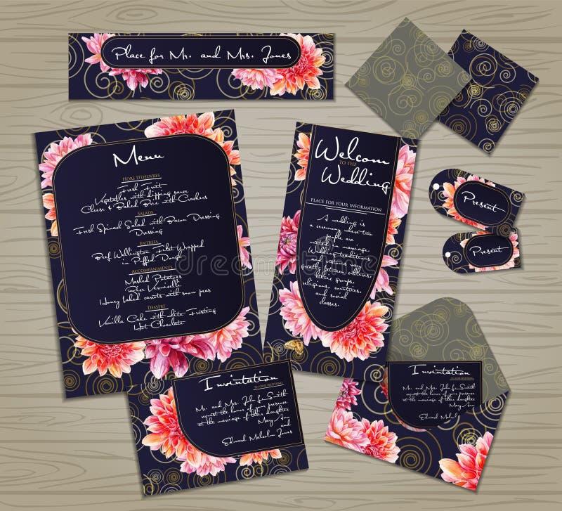 Комплект шаблонов для торжества, wedding бесплатная иллюстрация